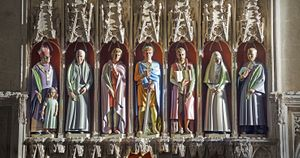 Rory Young's seven new painted stone statues at St Albans Cathedral