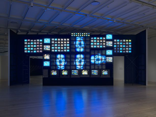 Nam June Paik (1932-2006), Fin de Siècle II, 1989 (partially restored, 2018) (installation view, Programmed: Rules, Codes, and Choreographies in Art, 1965-2018, Whitney Museum of American Art, New York, September 28, 2018-April 14, 2019). Seven-channel video installation, 207 televisions, sound, 168 × 480 × 60 in. (426.7 × 1219.2 × 152.4 cm). Whitney Museum of American Art, New York; gift of Laila and Thurston Twigg-Smith 93.139. © Nam June Paik Estate. Photograph by Ron Amstutz