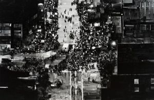Joy Gerrard, Protest Crowd, Chicago, USA, Trump Rally (2016), 2017 Japanese ink on linen, 195 x 300 cm Courtesy of the artist.