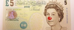 Hans-Peter Feldmann '5 Pound Bill with Red Nose', 2012. Courtesy of ProjecteSD, Barcelona
