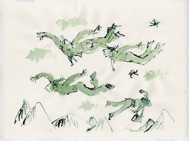 Quentin Blake, Airborne, 2019, pen ink and watercolour on paper © The Artist.