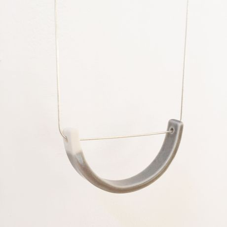 Elisabeth Barry, grey dipped porcelain pendant on silver necklace