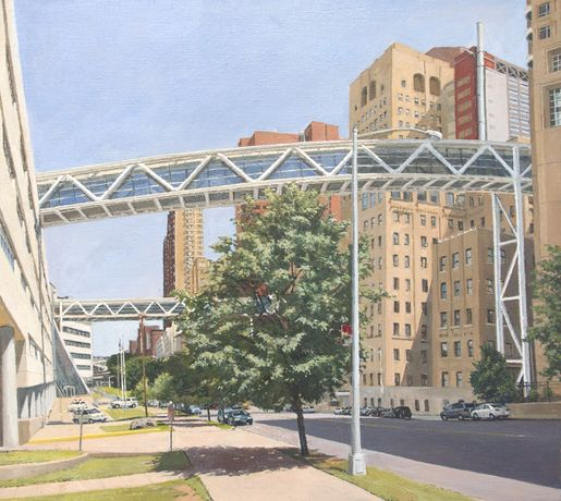 Columbia Presbyterian: Two Pedestrian Bridges Crossing Riverside Drive, 2013, Oil on canvas, 28 x 31 in. (71.12 x 78.74 cm)  RD16226