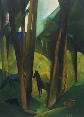 Paul Grunwaldt | Horses in The Woods | 1920 | gouache on cardboard | monogrammed and dated | 31.2 x 23 cm