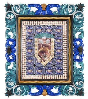TRAPAHOLIC, 2012 collage in custom frame 30 x 26 x 2 in