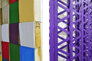 Detail of work by Peter Fillingham (left) and Rasheed Araeen (right)