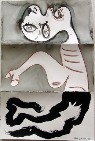 Ray Smith, Unguernica II-25, 2009, Mixed media on paper, 44 x 30 in (112 x 77 cm)