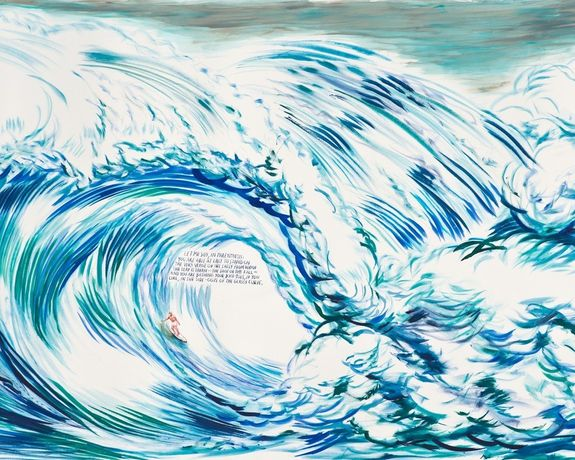 Raymond Pettibon, No Title (Let me say,), 2012. Ink and gouache on paper, 45 × 93 in (114.3 × 236.2 cm). Private collection, Los Angeles. Courtesy Regen Projects, Los Angeles