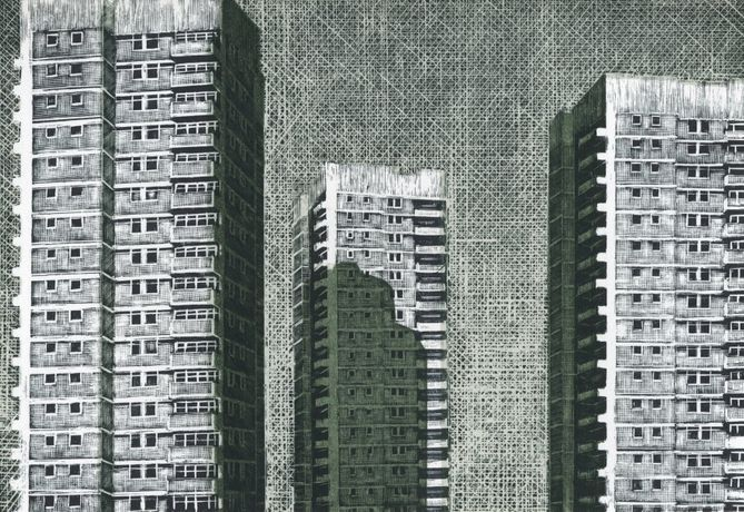 Louise Hayward RE, Point Blocks on the Tustin Estate, engraving on plastic