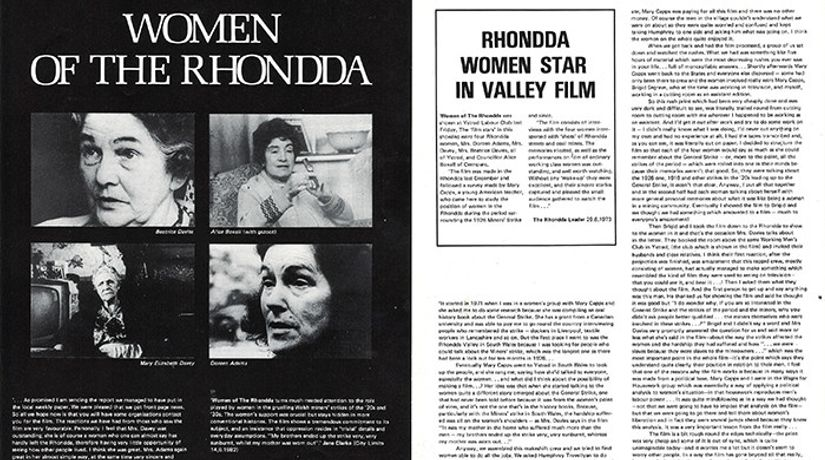 Image courtesy of Cinenova and Women of the Rhondda directors Esther Ronay, Mary Kelly, Mary Capps, Humphrey Trevelyan, Margaret Dickinson, Brigid Seagrave, Susan Shapiro.