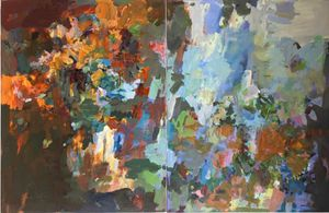 Theodore Dreiser's Garden Fall and Spring, 2011  Acrylic on canvas    24 x 40 in  61 x 102 cm