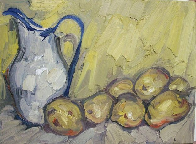Jug with potatoes. 18x24 inches