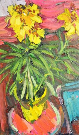 Yellow lilies in a yellow pot. 30x18 inches
