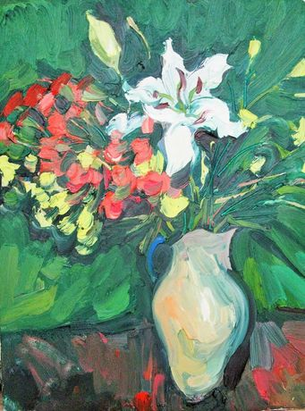 Carnations and lily in a jug. 24x18 inches
