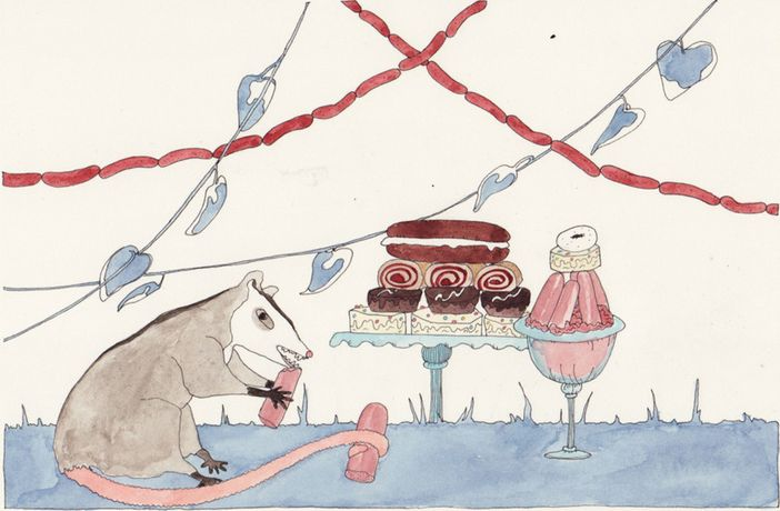 Dana Sherwood Racoon with Cake and Sausage, 2014 Tinte und Wasserfarbe auf Papier/ Ink and watercolor on paper 25,4 × 31,8 cm Courtesy & Copyright Denny Gallery & die Künstlerin/the artist