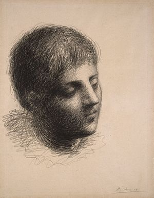 Pablo Picasso (Spanish, 1881–1973). Head of a Young Man (Tête de jeune homme), 1923. Grease crayon on pink Michallet laid paper, 241/2 x 185/8 in. (62.2 x 47.3 cm). Brooklyn Museum; Carll H. de Silver Fund, 39.18. © 2018 Estate of Pablo Picasso / Artists Rights Society (ARS), New York