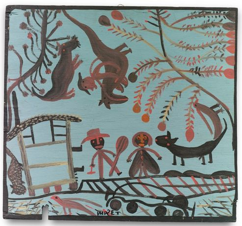 Mose Tolliver, 'Rainy Sunshine, Cats and Dog, Drum Beater', 1967. Housepaint on wood, 26.75 x 29 in. Fine Arts Museums of San Francisco, museum purchase, American Art Trust Fund, and gift of the Souls Grown Deep Foundation from the William S. Arnett Collection. Artwork: © Estate of Mose Tolliver. Photo: Stephen Pitkin/Pitkin Studio, Rockford, IL / Art Resource, NY.
