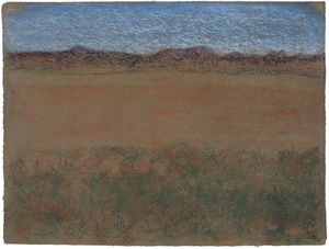 Richard Artschwager, Horizontal Landscape with Blue Mountains, 2010. Pastel on handmade paper, 45,7 x 60 cm. © Estate of Richard Artschwager/Artist Rights Society (ARS), Courtesy Sprüth Magers