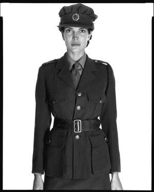 Stephanie Seymour, British Auxiliary Transport Services uniform, New York, April 1995 © The Richard Avedon Foundation
