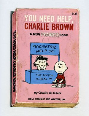 Richard Baker, You Need Help, Charlie Brown, 2015, mixed media on paper, 12 x10 inches