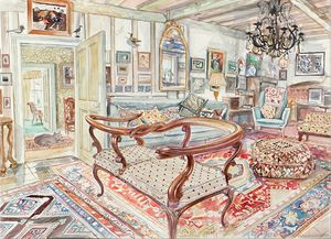 Snakes Head Sofa, Watercolour by Richard Bawden