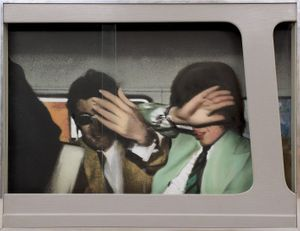 Richard Hamilton, Swingeing London '67, 1968, Relief, screenprint on oil on photograph on hardboard, Pallant House Gallery, Chichester (Wilson Gift through Art Fund, 2006) © Richard Hamilton 2020. All rights reserved, DACS