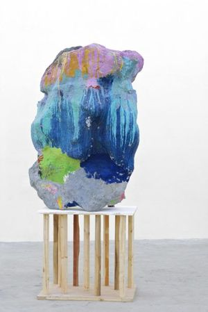 Franz West. Untitled (large sculpture with can), 2010. Papier mâché, styrofoam, acrylic lacquer, can. 52 x 41 x 37 3/8 inches (132 x 104 x 95 cm). Private Collection. © Archiv Franz West, © Estate Franz West