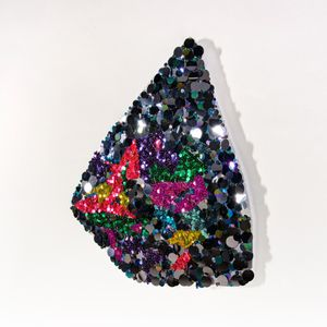Gianna Dibartolomeo Fragmented Flowers (glimmer 3), 2019 Sequins, pins, beads, metallic fabric, polystyrene 28 x 25 inches