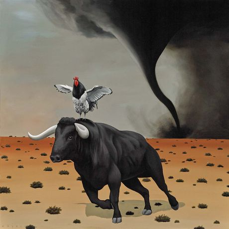 Robert Deyber, Another Cock and Bull Story, acrylic on canvas, 48 x 48 inches