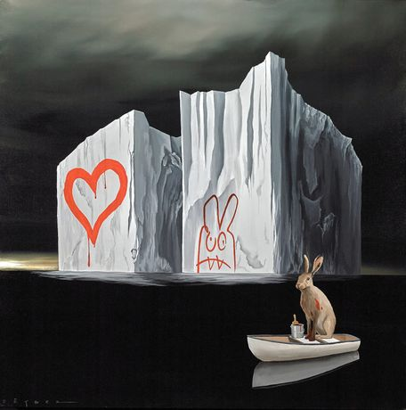 Robert Deyber, Bad Hare Day XXXII, acrylic on canvas, 40 x 40 inches