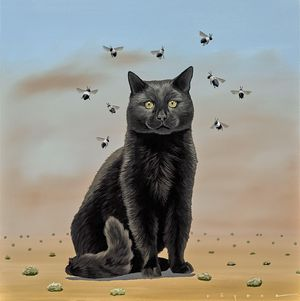 Robert Deyber, Bee Wildered (Cat), acrylic on canvas, 30 x 30 inches