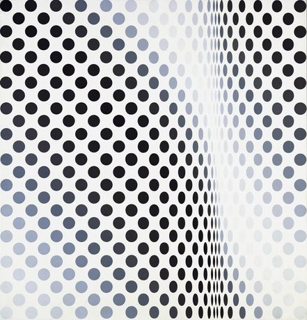 Bridget Riley, Pause, 1964, Emulsion on Board, 112 x 107 cm. ©Bridget Riley 2018. All Right Reserved