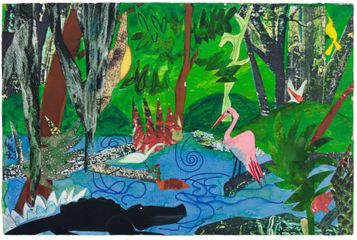 Bayou Fever, The Bayou, 1979  Collage, ink, pencil, and acrylic on fiberboard   6 x 9 in.  1 of 21 works, offered only as a group.