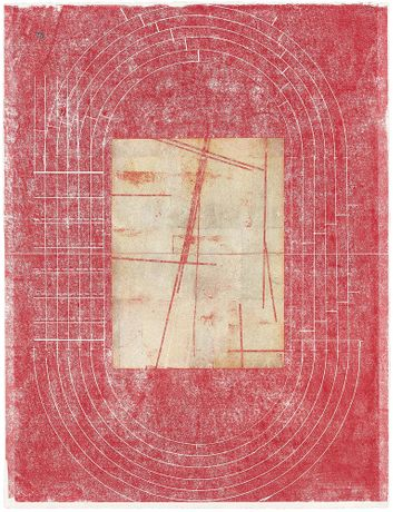 Ronny Quevedo, Nazca half-time, 2018, silver leaf and wax on paper, 26 x 18 in (66 x 45.7 cm)