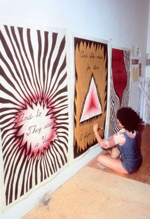 Judy Chicago Designing the Entry Banners for The Dinner Party, 1978. Courtesy of Through the Flower Archive
