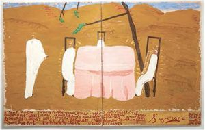 Rose Wylie: Pink Tablecloth (Short Shot) (Film Notes), 2011, Watercolour and Collage on Canvas, 207 x 330 cm