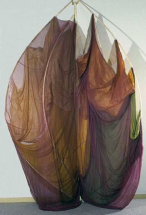 "Rosemary Mayer The Catherines, 1972-73 Fabrics, wood, dye, 120"" x 72"" x 48"""