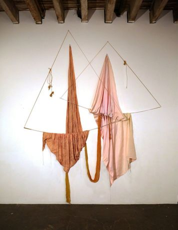"Rosemary Mayer, ""Balancing"", 1972, Rayons, cheesecloth, cord, and acrylic rods, 320 × 275 × 10 cm"