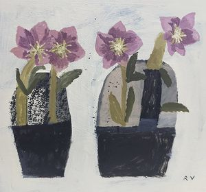 Hellebores, Acrylic on Board by Rosemary Vanns
