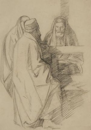 Sir William Rothenstein. Talmudic Discussion. Ben Uri Collection