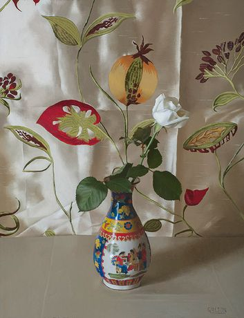 Chinese Vase and White Rose by Jeremy Galton Oil 44 x 34cm