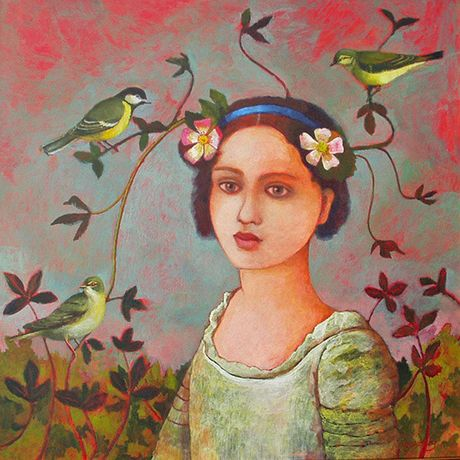 Crown of Birds by Nicola Slattery Acrylic 40 x 40cm