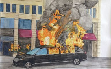 Limousine burned by the Black Bloc during the presidential inauguration, 2017; Watercolor on paper, 38 x 42 inches. Courtesy of the artist