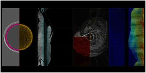 Image courtesy of studio Ryoichi Kurokawa based on scientific data from CEA Paris-Saclay. (Galaxy collision)