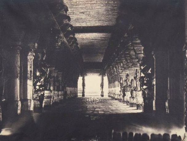 Linnaeus Tripe, Puthu Mundapum, View of the Nave, Trimul Naik's Choultry, January–February 1858. Albumenized salted paper print. Courtesy of the Wilson Centre for Photography.