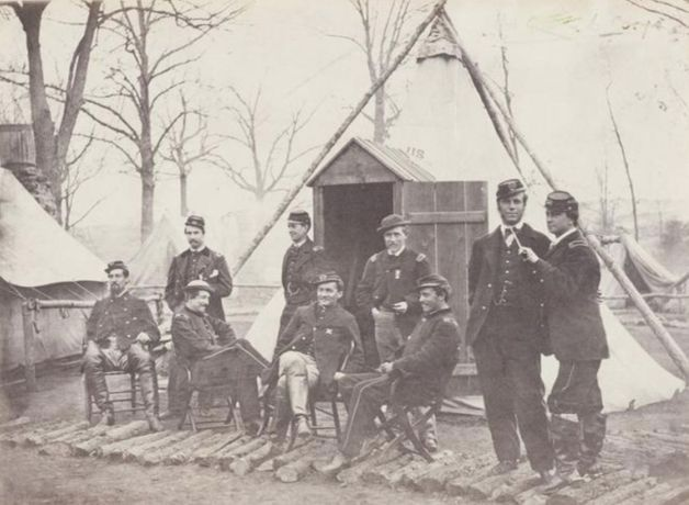 Studio of Mathew Brady. Sixth Corps Staff Officers, Winter of 1864, 1864. Salted paper print from a glass plate negative. Courtesy of the Wilson Centre for Photography.