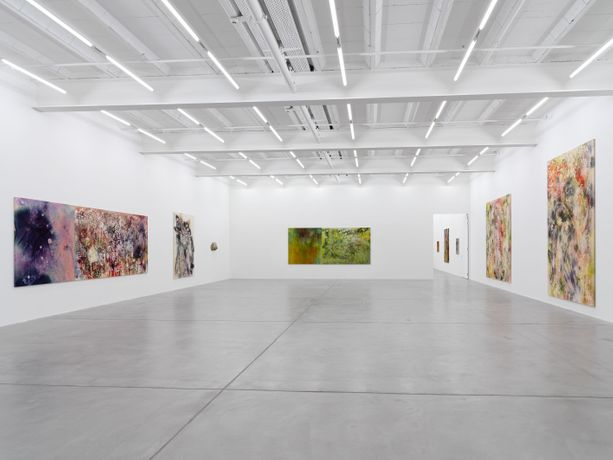 Installation view, Sam Falls, Galerie Eva Presenhuber, Maag Areal, Zurich, 2021 © Sam Falls, Courtesy the artist and Galerie Eva Presenhuber, Zurich / New York