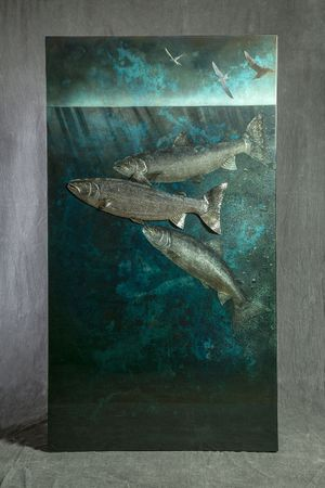 above and below, pewter, aluminium, resin and gold leaf, 180 x 100cm