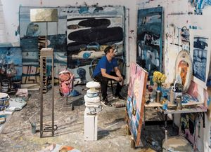 Samuel Bassett in his Porthmeor Studio, St Ives . April 2019