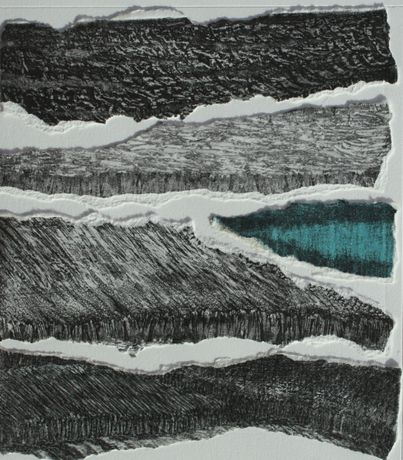 Tidal Flats   Etching and Collage